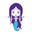 mermaid with purple hair on color sections vector image vector image