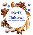 merry christmas card with bananas blueberry and vector image