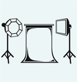 Photo studio with lighting equipment vector image vector image