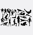 pilates female training sport activity silhouette vector image vector image