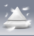 pyramide from pillows with white feathers vector image vector image