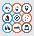 religion icons set with shawl lamp time and vector image vector image
