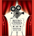 retro cinema poster with camera and red curtains vector image vector image
