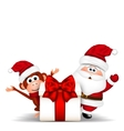 Santa Clause and Christmas Monkey on white vector image vector image
