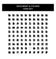 set document and folder icon with glyph style vector image