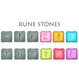 set of square colorful and grey rune stones vector image