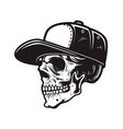 skull in baseball cap in engraving style design vector image vector image