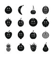smiling fruit icons set simple style vector image vector image