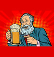 smiling old man with a mug of beer foam vector image vector image