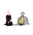 sorrowful elderly woman dressed in mourning vector image