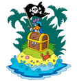treasure island with pirate parrot vector image
