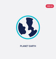 two color planet earth icon from delivery and vector image
