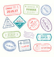 visa stamps that put at airport by customs vector image vector image