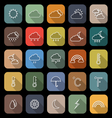 Weather line flat icons with long shadow vector image vector image