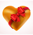 yellow valentine heart gift with bow and tape vector image vector image