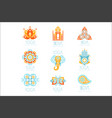 yoga studio labels set stylized famous spiritual vector image
