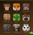 animal faces for app icons-set 16 vector image