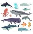 Sea marine fish and animals flat set vector image