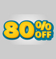 80 off discount banner special offer sale tag in vector image
