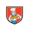 Baker Holding Bread Loaf Shield Cartoon vector image vector image