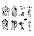 beach huts set beach life icons vector image vector image