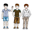 beautiful young teenager boys group posing in vector image