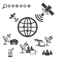big data icons set satellite telecommunications vector image vector image