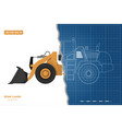 blueprint wheel loader top side front view vector image