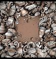 cartoon doodles coffee frame vector image