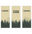 cartoon silhouette pine forest vector image vector image