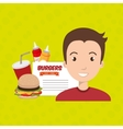 child cartoon man fast food vector image