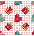 christmas background hearts and gift box vector image vector image