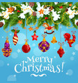 christmas celebration wish greeting card vector image vector image
