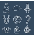 Christmas line icons written in chalk vector image vector image
