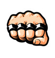 clenched fist brass knuckles gangster thug vector image