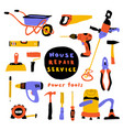 construction tools cute doodle set vector image