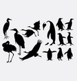crane and penguin animal silhouette vector image