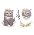 cute kitty pussy cat or kitten with flowers design vector image vector image