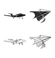 design of plane and transport symbol set vector image