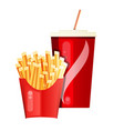 disposable cups soda with french fries at the vector image