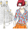 fashion girl in St Petersburg vector image vector image