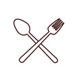 fork spoon cutlery product food silhouette icon vector image