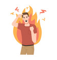 furious screaming guy crazy person fire flame