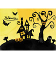 halloween card watercolour silhouette haunted vector image