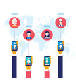 hand holdingsmart phone with icons social network vector image vector image