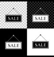 hanging sign with text sale icon isolated on black vector image vector image