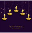 happy diwali festival greeting with golden diya vector image vector image