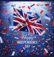 happy uk independence day card with confetti vector image