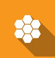 honeycomb sign icon with long shadow honey cells vector image vector image
