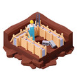 isometric house foundation works vector image vector image